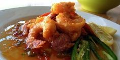 Shrimp and tasso with crystal hot sauce beurre blanc. New Orleans Recipes, Louisiana Recipes, Pepper Jelly, Fish And Seafood, Shrimp Recipes, Soul Food, Curry, Veggies, Yummy Food