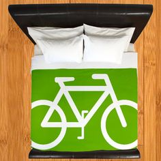 Bicycle Duvet Cover Hipster Duvet CoverGreen by crashpaddesigns