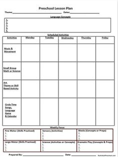 blank preschool weekly lesson plan template | ... my printable lesson plan PDF file to organize your weekly lesson plan: