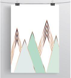 Mint Mountain Print Scandinavian Decor Copper por PrintAvenue