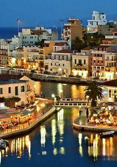Agios Nikolaos in Lassithi, Crete, Greece. Crete Island Greece, Greece Islands, Athens Greece, Mykonos Grecia, Santorini, Crete Holiday, Places To Travel, Places To Visit, Travel Destinations