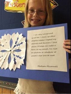 Madison, one of Mrs. Holland's snowflake kids Beautiful!