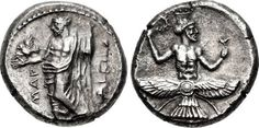 A Rare Coin Depicting Ahura Mazda and Baaltars This is a rare and exceptional Greek silver stater from Mallus, Cilicia (map), struck circa 384-383 BC under Tiribazus, Satrap of Lydia. The obverse shows Baaltars holding an eagle in one hand and a lotus-tipped scepter in the other; MAP is inscribed to the left and TRBZW (in Aramaic) is to the right. The reverse shows a splendid image of Ahura Mazda with his body terminating into a winged solar disk with tail feathers. He holds a wreath in his…