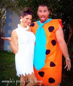 DIY Fred & Wilma Flintstone costumes... Omg me and jordan ! Karson can be bam bam !