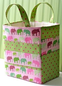 Art Caddy Tote PDF Sewing Pattern.  Organize your kids art supplies in this pretty tote!