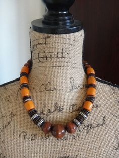 Orange and Brown Necklace Vintage Wood by IrmaGuzmanEcoJewelry