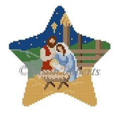 """""""Star, Nativity"""" painted canvas by Susan Roberts Size: x Mesh Count: 18 Beaded Cross Stitch, Cross Stitch Baby, Cross Stitch Embroidery, Cross Stitch Patterns, Cross Stitch Designs, Cross Stitches, Loom Patterns, Plastic Canvas Ornaments, Plastic Canvas Christmas"""