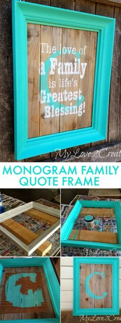 A great repurpose project from an old frame and reclaimed wood! A DIY Monogram Family Quote Frame | My Love 2 Create for OHMY-CREATIVE.COM