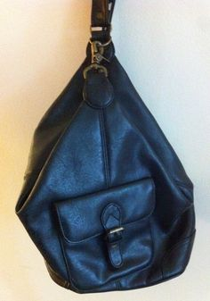 """Black """"Leather"""" Single Strap Backpack Purse. $18.00. New in my Etsy shop: http://www.etsy.com/shop/Moonhoneyvintage"""