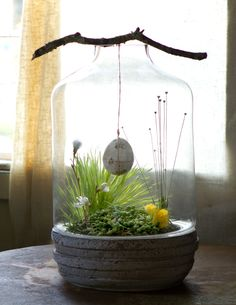 Easter Terrarium || See more natural centerpiece ideas at Terrain →
