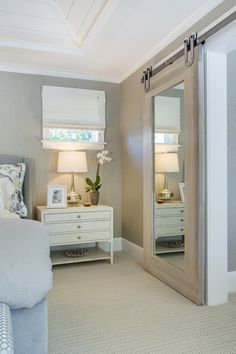 mirror barn door to closet! House of Turquoise: Mpls.Paul Magazine ASID MN Showcase Home Barn Door Baby Gate, Bedroom Barn Door, Closet Bedroom, Home Bedroom, Bedroom Decor, Bedroom Mirrors, Bathroom Closet, Master Closet, Basement Bathroom