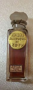 "Sealed Vintage Coty ""Ambre Antique"" Mini Perfume with Lalique Stopper Rare 2 1/4"" 