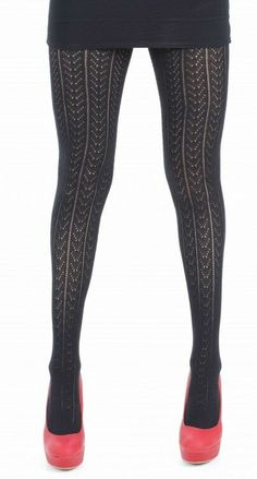 a3b40b62f4f New Chevron knitted lacy black tights one size hosiery fits up to 42