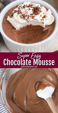 This silky smooth Chocolate Mousse is made with only four ingredients and three simple steps. You won't believe how easy it is! Chocolate Mousse Ingredients, Easy Chocolate Mousse, Chocolate Desserts, Chocolate Mousse Cheesecake, Keto Chocolate Mousse, Chocolate Tarts, Just Desserts, Delicious Desserts, Yummy Food