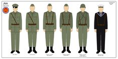 Uniforms of Yugoslav People's Army officers and soldiers and Yugoslav Navy sailors.