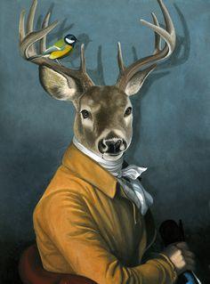 OFF - Wild Animals Dressed as Humans canvas art Art And Illustration, Lapin Art, Kunst Poster, Horse Wall Art, Deer Art, Human Art, Animal Heads, Animal Paintings, Pet Portraits
