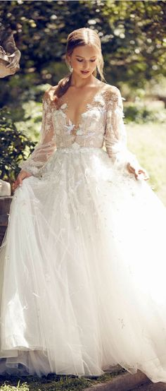 Charming V Neck Lace Top A-line Tulle Wedding Dress with Ribbon