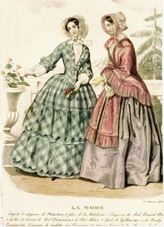 "Time Traveling in Costume: 1850s turquoise plaid dress- My ""Young Victoria"" gown"