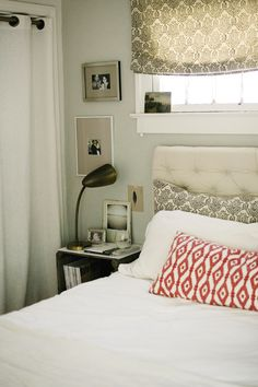 perfect little bedroom corner(padded headboard, colors...) WNC: Photographs by: Dustin & Whitney Deal