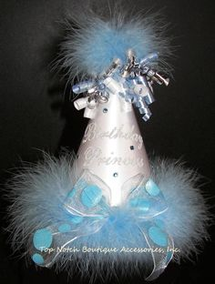 Girls Birthday Princess White & Ice Blue Marabou Party Hat