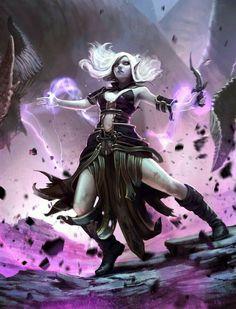Female Elf Eldritch Sorcerer - Pathfinder PFRPG DND D&D d20 fantasy