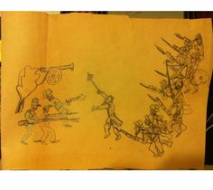 Robert Lyn Nelson's  age 5  Civil War drawing on yellow paper. 12x16 #art #history  @robertlynnelson.com