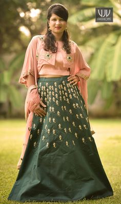 Royal Green And Peach Color Georgette Lehenga Choli Style and trend could be on the peak of your magnificence as soon as you attire this green color georgette a line lehenga choli. The embroidered and patch border work on dress personifies the total appearance.