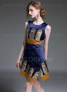 Dresses - $81.69 - Black Dark Blue Polyester Character Sleeveless High Low Dresses (1955094118)