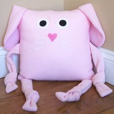 Bunny Animal Pillow from 3 Silly Monkeys on Etsy. 14 x 14 pillow made from soft fleece. $14.00