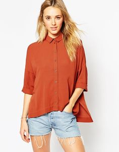 ASOS - Oversize-Bluse in Knitteroptik - Rostrot auf Stylelounge.de