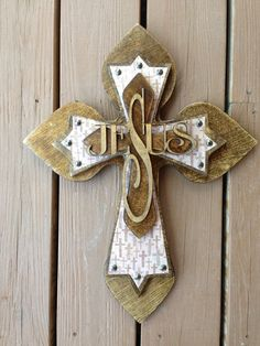 Large Walnut stained  Wood Cross by SignsBYDebbieHess on Etsy, $35.00
