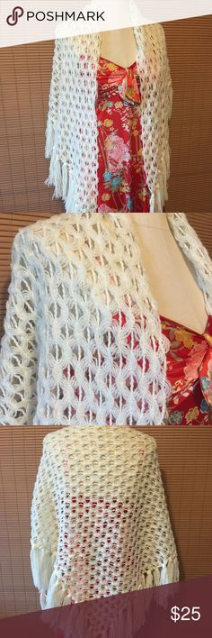 VTG Crochet Fringe Wrap Around White Shawl Fringed at the bottom wrap around Shawl for the holidays! Perfect condition. One size fits all. Authentic Original Vintage Style Accessories Scarves & Wraps