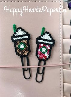 Frozen Coffee Planner Clips Starbucks Paper Clip Check out Happy Hearts Paper Co. on Etsy and Instagram for more fun planner ideas and Perler bead planner accessories and bookmarks. #planners #plannerideas #happyplanner #coffee #starbucks #bookmark #perlerbeads #etsyseller #officedecor #deskdecor