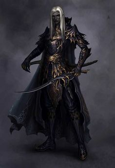 m Drow Elf Fighter Plate Armor Cloak Dual Sword male Underdark Traveler lg High Fantasy, Fantasy Rpg, Dark Fantasy Art, Medieval Fantasy, Fantasy Artwork, Elf Characters, Dungeons And Dragons Characters, Fantasy Characters, Dungeons And Dragons Art