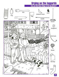 Hidden Pictures, great for children Hidden Picture Games, Hidden Picture Puzzles, Puzzles For Kids, Activities For Kids, Colouring Pages, Coloring Books, Fall Coloring, Hidden Pictures Printables, Highlights Hidden Pictures