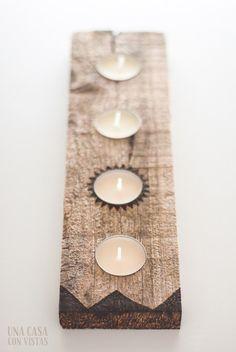 Porta velas de madera hecho a mano