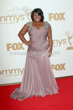 d69d6e3291ff2 Amber Riley Emmy Awards Red Carpet Dresses Designer Chiffon Look-A-Like  Celebrity Gowns Plus Sizes