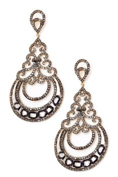 Champagne Diamond & Sliced Diamond Chandelier Earrings - 3.75 ctw by Assorted on @HauteLook