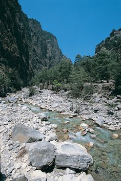 "VISIT GREECE| Samaria gorge, Crete. In the prefecture of Chania (also written ""Hania""), the Samaria gorge is the longest in Europe (total length 16km), and one of the most impressive gorges in Greece. It starts from Xylóskalo, at an altitude of 1,230m. The width of the gorge is 150m at its widest point and 3m at its narrowest."