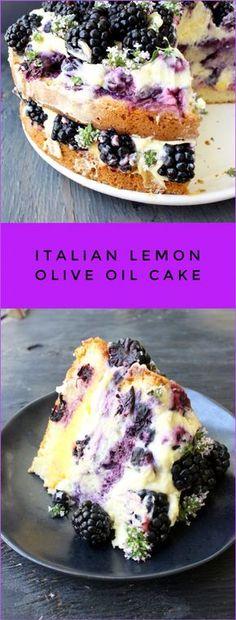Lemon Olive Oil Cake Recipe with Berries, Whipped Mascarpone and Lemon Curd | CiaoFlorentina.com @CiaoFlorentina