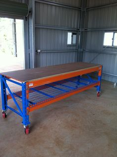 This is a mobile pallet workbench. Workbenches can be in found in sheds and warehouses. http://www.racknstackwarehouse.com.au/products/cairns/workbenches/