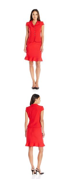 TAHARI ASL WOMEN'S PETITE CREPE SHORT SLEEVE SKIRT SUIT---------- Color:  Red----------- 96% Polyester, 4% Spandex ------------ Gold 5 button closure---------- Peplum seaming---------- Classy,Well Fitted,Vintage Suit for Business Work and Professional Purposes---------- Modern,Elegant Suit for Spring/Summer of 2016----------