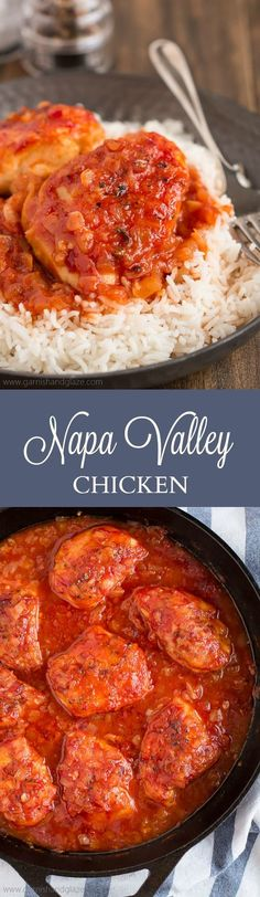 Napa Valley Chicken is baked in a sweet and savory tomato, onion, and garlic sauce and is one of my absolute favorite recipes from my childhood.
