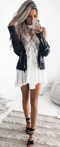 white and black trends / moto jacket + dress + heels Trendy Outfits, Fall Outfits, Summer Outfits, Dress Outfits, Fashion Outfits, Dress Clothes, Trendy Dresses, Fashion Tips, Dress With Cardigan