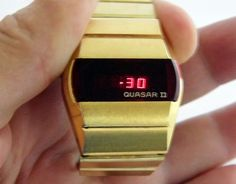 Vintage Quasar II Digital Quartz Watch By Quasar Time Corporation, Red LED Display, Goldtone Finish, Circa 1975 Retro Watches, Vintage Watches, Watches For Men, Wrist Watches, Lead Men, Mens Digital Watches, Led Watch, Red Led, Automatic Watch
