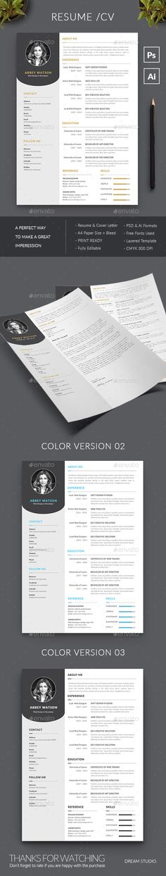 #Resume - #Resumes Stationery Download here: https://graphicriver.net/item/resume/20447451?ref=alena994