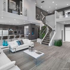 "13 kedvelés, 3 hozzászólás – RR Styles (@rrstylesinc) Instagram-hozzászólása: ""OPEN-FLOOR PLAN is the way to go! Open concept living room & kitchen with gray walls, hardwood…"""