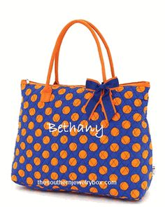 PERSONALIZED QUILTED BAGS, TOTES AND LUGGAGE SETS - Orange and Royal - CLICK TO SEE SELECTION