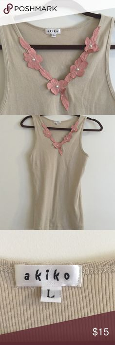 Akiko leather & pearl trim ribbed tank top Large So cute this ribbed tank top that fits great - made of cotton and Lycra. can be worn as a shell under a jacket or tank in the summer akiko Tops Tank Tops