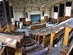 An abandoned university auditorium